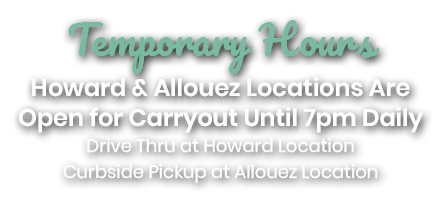 Zesty's Allouez and Howard Drivethrough and Curbside Pickup Open Until 7pm Daily