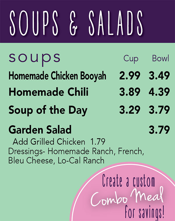 Soups and Salads  Menu at Zesty's Frozen Custard Restaurant in Green Bay, WI