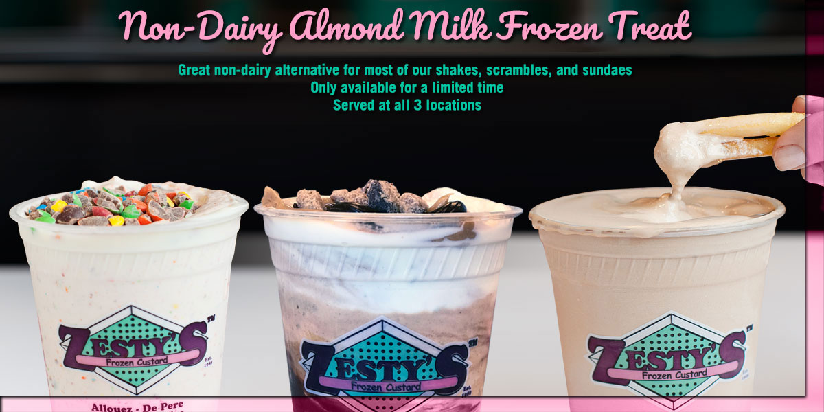 Non-Dairy Almond Milk Frozen Treat at Zesty's Frozen Custard and Desserts at Green Bay Restaurant
